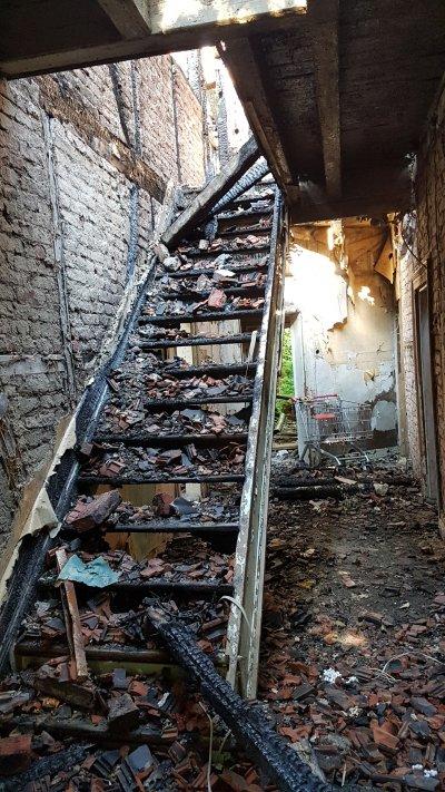 Durch den Brand wurde der Kotten Grewer auch innerhalb des Gebäudes völlig zerstört.