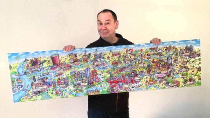 Jacques Tilly mit seinem Wimmelbild Ruhrgebietspanorama