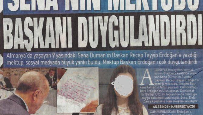Brief einer Schülerin an ERdogan