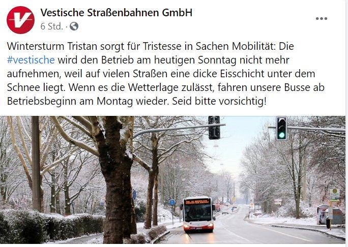 Facebookeintrag der Vestischen zur Verkehrslage