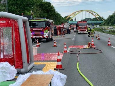 Gefahrgutunfall auf der A2 bei Gladbeck