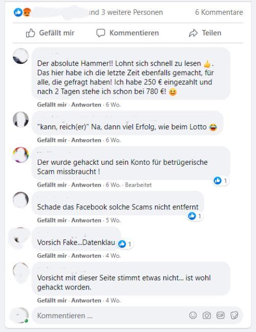 Warnungen von Facebookfreunden