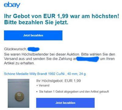 Medaille bei eBay für 1,99 Euro